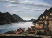 Berglandschaft mit See (2012), 80 x 60 cm, Eitempera & Ölfarben auf Leinwand