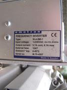 Typenschild Frequenzumrichter - 220 Volt auf 380 Volt.