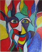 """Clown"" Acryl auf Leinwand, 80x100 cm, 2016"