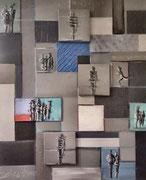 """""""Begegnungen"""" Leinwand auf Leinwand und Acrylglas mit Acryl, 120x100 cm"""