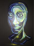 """Selbstportrait"" Acryl auf schwarzer Leinwand, 70x50 cm, 2017"