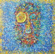 """""""Hanni!"""" Acryl auf Leinwand, Gesicht aus getrockneten Farbresten zusammengestellt, 60x60 cm, 2019"""