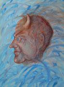 """""""Der kleine Teufel in sich"""" Acryl und Ölkreide auf Leinwand, 50x70 cm"""