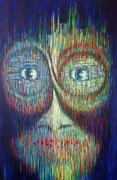 """""""Stumme Achtsamkeit"""", Acryl auf Leinwand, der Mund besteht aus bemalten Holzklötzchen, 120x100 cm, 2019"""