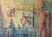 """""""Agieren auf Ebenen"""" Acryl auf Leinwänden gespachtelt, 140x100 cm"""