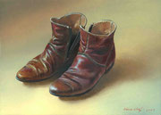 Genia Chef, My Boots, 13 x 18 cm, oil on panel