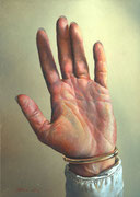 Genia Chef, Hand of My Muse, 18 x 13 cm, oil on panel