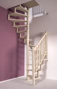 Sqaure wood escalier en sapin avec rampe extérieure