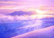 水彩画                           忠別川と日の出