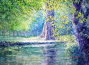 水彩画                             水辺の輝き