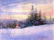水彩画                              黄昏の冬景色