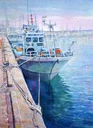 水彩画                             静かな漁港