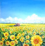 水彩画         北竜町のひまわり畑