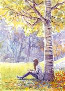 水彩画                             白樺の樹の下で