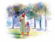 水彩画                             ママと散歩