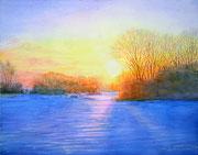 水彩画        雪原に輝く
