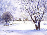 水彩画                             優しい冬