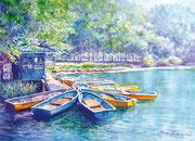 水彩画                             ボートハウスの金曜日