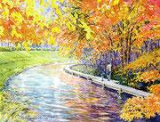 水彩画                             川辺の紅葉