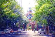 水彩画                             新緑の北海道庁
