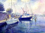 水彩画                          夕暮れのヨットハーバー