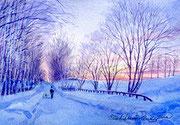 水彩画                             冬の散歩道