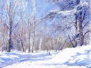 水彩画                             冬の晴れた日