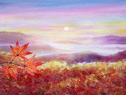 水彩画         銀泉台の紅葉と雲海
