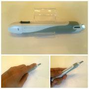 【安心構造カッターナイフ〈フレーヌ〉】 左右どちらの手でも使いやすい水平スライダー付のカッターナイフです。 ¥363(税込)