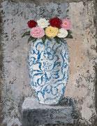 「バラ色花瓶」 油彩 42x31cm