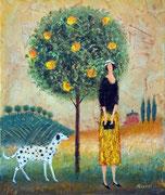 「りんごの木」 油彩 45.5x32cm