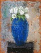「青い花瓶」 油彩 41x32cm 販売済