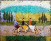 「トリプルバイク」 油彩 50x60.6cm