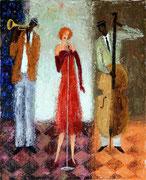 「ジャズシンガー」 油彩 45.5x38cm 販売済