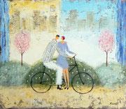 愛の自転車 油彩 45,5x53cm