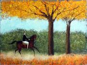 「乗馬」 油彩 45.5x60.6cm 販売済