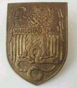 Odznaka za walki w czasie powstania w Warszawie. tarcza ta pozostała w sferze projektowania i nie została nadawana.Wykonano tylko pojedyńcze egzemplarze na zasadzie wzorów