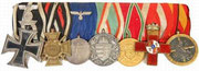 1914 Iron Cross (with 1939 spange), Hindenburg Cross, Heer Long Service Medal (four years), WWI Commemorative War Medals for Austro-Hungary and Bulgaria, Spanish Red Military Service Cross and Spanish Campaign Medal