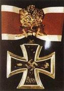 Krzyz Rycerski złote liście dębu z diamentami i mieczami