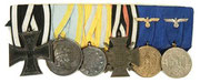 1914 Iron Cross 2nd Class, Saxon War Service Medal, Saxon Friedrich August Medal, Hindenberg cross, Heer 4 Year and 12 Year Service Medals