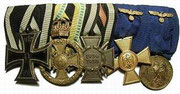 1914 Iron Cross 2nd Class, Saxe-Meinengen 1914-1915 War Service Medal, 1914-1918 Cross of Honor with Swords for combatant, Army 25-Year Long Service Cross in Gold and  Army 12-Year Long Service Medal in Gold