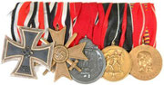 Iron Cross 2nd Class, War Merit Cross 2nd Class for combatants, Eastern Front medal, Sudetenland Annexation medal and Romanian Crusade Against Communism medal