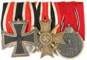 Iron Cross 2nd Class, War Merit Cross 2nd Class for combatants and Eastern Front medal