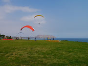 Paragliding off the cliffs in Miraflores, Lima
