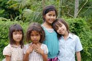 local children along the Bamboo train track