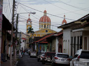 view of the Cathedral of Granada from the streets - Granada, Nicaragua