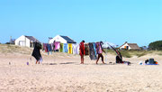putting out the washing in Valizas - no better place than on the beach!