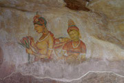 Frescoes in the cave - series of buxom wasp waisted women popularly believed to represent the Apsaras