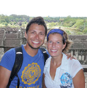 picture of us from upper gallery at Angkor Wat