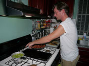 Dan the helping make a feast for our CouchSurfing hosts!